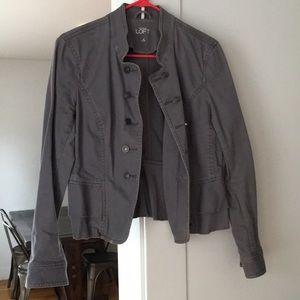 LOFT grey/blue denim military style jacket